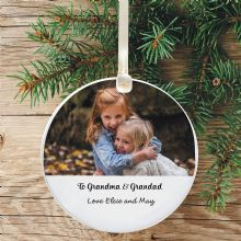 Personalised Photo Ceramic Keepsake Christmas Tree Decoration - Gift for Grandparents